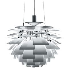 Louis Poulsen PH Artichoke Pendant Light - Stainless Steel - 230W... ($8,230) ❤ liked on Polyvore featuring home, lighting, ceiling lights, silver, flower lamp, stainless steel lighting, louis poulsen, flower stem and stainless steel lamp