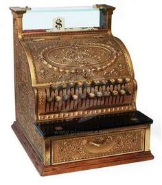 Antique cash register made by J.H. Wilson of Dayton, OH in 1905