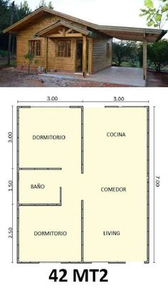 Simple and practical design Bamboo House Design, Simple House Design, Tiny House Design, Little House Plans, Small House Floor Plans, Tiny House Cabin, Bedroom House Plans, Home Design Plans, House Layouts