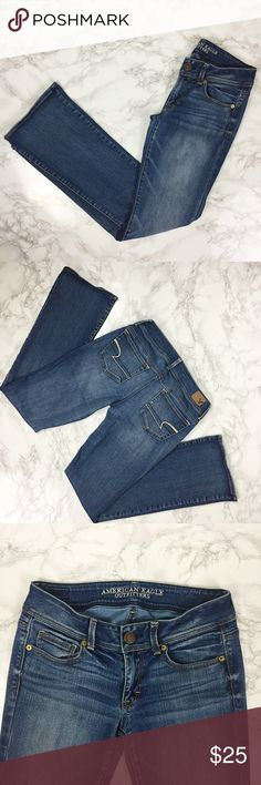 American Eagle Kick Boot Jeans AEO Kick Boot super stretch jeans. Distressed detail on left knee. Size is 6 long. ★ measurements available upon request ★ reasonable offers considered ★ no trades American Eagle Outfitters Jeans