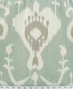 Drapery Upholstery Fabric 100 Cotton Ikat Ivory Tan on Blue Green | eBay