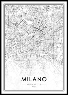 Milano Map Poster in the group Prints / Maps & cities at Desenio AB Poster Shop, City Map Poster, World Map Poster, Poster Prints, Maps Posters, London Poster, London Map, Carte New York, Milan Map
