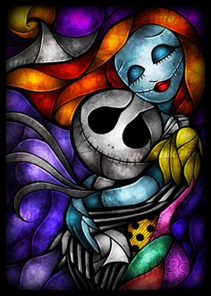 nightmare before christmas stained glass