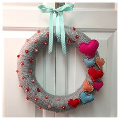 Valentine's 3D heart wreath 14 inches by FaithInBloom