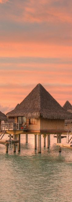 Overwater Bungalows in Bora Bora, Tahiti, French Polynesia Places Around The World, Oh The Places You'll Go, Places To Travel, Places To Visit, Around The Worlds, Vacation Destinations, Dream Vacations, Vacation Spots, Romantic Vacations