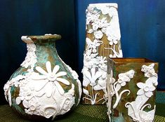 three vases | polymer, metal paint, patina on upcycled glass… | Flickr
