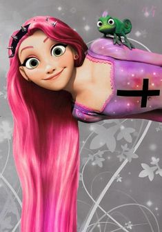 Punk Rapunzel >>Actually it's Pastel Goth^^^ this is why I don't get teenagers these days<----- for realz. Goth Disney, Gothic Disney Princesses, Punk Disney Characters, Disney Rapunzel, Disney Girls, Disney Love, Disney Magic, Princess Rapunzel, Disney And Dreamworks