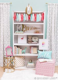 This little girl's nursery is so dreamy! I love the shelf decor!