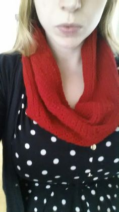 Cosy crochet red snood - the first thing I made!! No pattern followed, just learnt a stitch and had a go!!