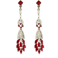 Ben-Amun Ruby Linear Deco Earrings ($180) found on Polyvore