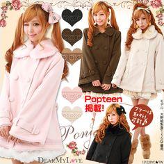 Remove fur ♪  Ribbon  pocket poncho  coat