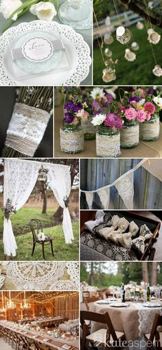 Lace and burlap wedding! So pretty