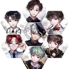 BTS Anime Style they look like mystic messenger characters Chibi, Mystic Messenger, Bts Chibi, Anime, Anime Style, Fan Art