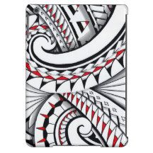 Red tribal polynesian patterns with shading iPad air covers