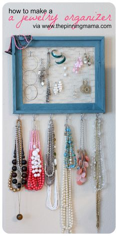 Cute jewelry organizer requires just a frame, some hooks and some chicken wire. From The Pinning Mama.