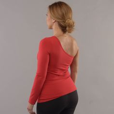"""Our One Shoulder long sleeve tank or as we call it the """"One Cold Shoulder,"""" is a tank made for yoga, Pilates, dance or just our on the town."""