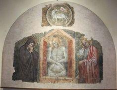 Spinello Aretino (bottega) - Pietà con agnello mistico tra i santi Bartolomeo e Donato - 1350 ca.  - Museo Nazionale d'Arte Medievale e Moderna, Arezzo