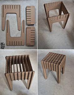 Our Little Cardboard Stool by arquimana on Etsy(Diy Furniture Cardboard) Cardboard Chair, Diy Cardboard Furniture, Paper Furniture, Cardboard Design, Cardboard Sculpture, Cardboard Paper, Cardboard Crafts, Plywood Furniture, Furniture Design