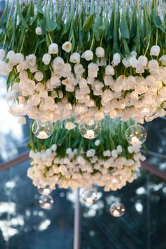 a crisp and classic white wedding- hanging tulips