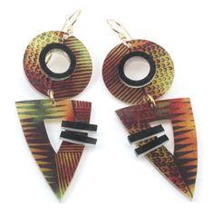 African Earrings w/Bark Pattern
