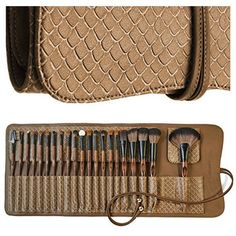 Essencell Makeup Brushes Premium Synthetic Kabuki Cosmetic Makeup Brush Set - Foundation,Powder, Blending Blush / Bronzer, Concealer / Contour, Eye Shadow Brush Kit (8PCs, Black Sliver)