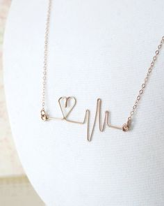 Heartbeat Necklace - Rose Gold Filled Wired, hand wired heartbeat pendant, doctor, nurse, love, quirky, wire, gifts for her, www.colormemissy.com