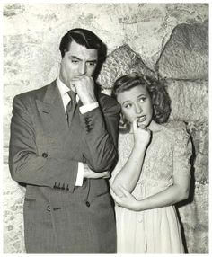 """Cary Grant and Priscilla Lane during the filming of """"Arsenic and Old Lace"""", (1944)"""
