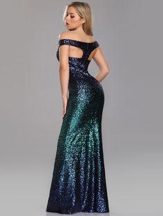 5be992a15e1 Long Black Evening Dress with Shoulder Applique. See more. Love Sparkles  Off Shoulder Floor Length Sequins Evening Gown
