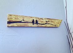 Love Birds on Branch~ Rustic Upcycled Barn wood Yellow Wall Decor- Reclaimed Wood sign- Shabby chic Decor, Black Birds on Yellow board