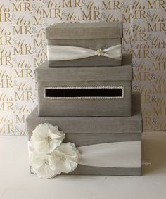 Wedding Card Box - using burlap and lace instead.