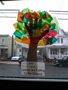 I have these in my classroom windows so they glow when the sun shines on them.  I trace the child's hand and we use wax paper and tissue paper for the tree. The poem: Red and yellow, green and brown, leaves are falling to the ground.