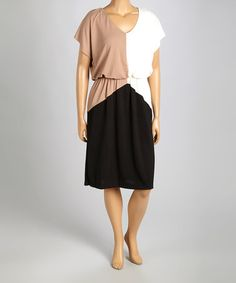 Another great find on #zulily! Black & Taupe Color Block Blouson Dress - Plus by AA Studio #zulilyfinds