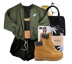 """""""Bryson Tiller-Sorry Not Sorry"""" by forevaahannah ❤ liked on Polyvore featuring H&M, Mykita, Lacoste, Victoria Beckham, HUF, NIKE and Timberland"""