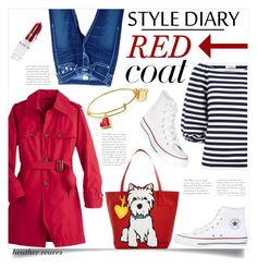 """""""Red Coat Week"""" by heather-reaves ❤ liked on Polyvore featuring TravelSmith, True Religion, Sonia Rykiel, Rodin, Converse and Marc Tetro"""