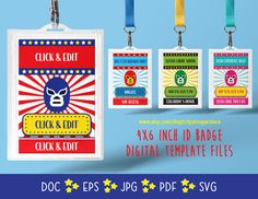 ID Badge Tag Lucha Libre DOC PDf SVG Instant Download Printable Font Editable Template Digital File by clipartsuperstore on Etsy Digital Stamps, Digital Scrapbooking, Silhouette Cameo Free, Edit Font, Badge Template, Ticket Design, Party Items, Id Badge, Embroidery Kits