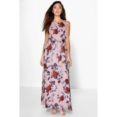 Boohoo Night Sophia Chiffon Floral Print Maxi Dress ($44) ❤ liked on Polyvore featuring dresses, gowns, multi, maxi dress, white chiffon gown, sequin gown, party dresses and chiffon maxi dress