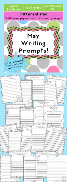 15 writing prompts on differentiated themed paper.  *45 pages in all*  * Each prompt is on three different paper types.One with Handwriting lines and picture space, one with handwriting lines only, and one with regular lines only.  *Great for literacy centers, homework, morning work, and writing workshop.