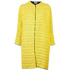 Pre-owned Tucker Pod Ikat Pea Coat (€300) ❤ liked on Polyvore featuring outerwear, coats, yellow, long sleeve coat, peacoat coat, pea jacket, yellow coat and pea coat