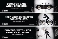 An eye-catching ad campaign recently relaunched by the city is reminding drivers, pedestrians and cyclists to take more heed of one another – especially after the clocks have turned back. Road Traffic Safety, Safety Quotes, Pedestrian, Weather, Ads, City, Google, Reassurance Quotes, City Drawing