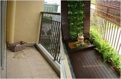 tiny balcony garden - before and after
