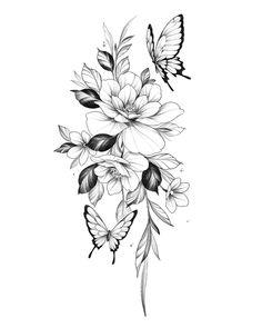 Floral Back Tattoos, Floral Tattoo Design, Flower Tattoo Designs, Rose Tattoos, Body Art Tattoos, Small Tattoos, Sleeve Tattoos, Vintage Floral Tattoos, Tattoo Floral