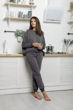 Items similar to Tracksuit Cute Lounge Outfits, Cute Work Outfits, Lazy Day Outfits, Loungewear Outfits, Tracksuit Pants, Barefoot Girls, Fashion Design Sketches, Girls Fashion Clothes, Crop Tops