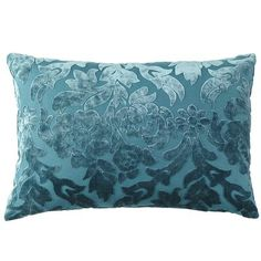 Velvet Damask Pillow - Teal  This pillow would look great on the Hourglass chair to pull my purples and blues together.