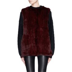 H Brand 'Libby' long rabbit fur knit gilet featuring polyvore, fashion, clothing, outerwear, vests, red, red cloak, rabbit fur vest, long knit vest, red vest and vest waistcoat