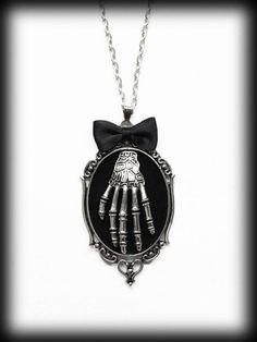 Skeleton Hand Necklace, Gothic Pendant, Alternative Jewelry, Black Velvet Cameo, Creepy Jewelry, Antique Silver, Handmade Gothic Jewelry by WhisperToTheMoon on Etsy
