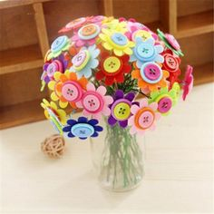 Puzzle Style: CommonBrand Name: HappyxuanAge Range: > 3 years YearsStyle: Geometric ShapeGender: GirlsMaterial: Plastic Button Crafts For Kids, Flower Crafts Kids, Spring Crafts For Kids, Crafts For Girls, Diy For Kids, Button Bouquet, Button Flowers, Craft Kits, Diy Kits