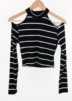 open-shoulder striped crop top