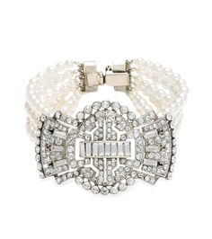 Bridal 5 Row Pearl and Deco Crystal Bow Bracelet by Ben Amun | Thomas Laine