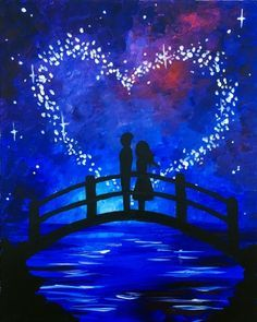 Couple with heart sky on a wooden bridge. Easy beginner painting idea in blue, black and white. Couple with heart sky on a wooden bridge. Easy beginner painting idea in blue, black and white. Couple Painting, Love Painting, Painting & Drawing, Watercolor Paintings, Star Painting, Watercolor Tips, Painting Tips, Simple Acrylic Paintings, Easy Paintings