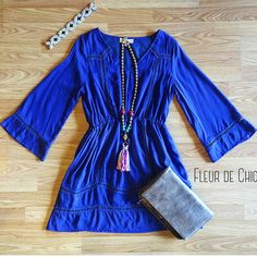 Dress up your style with this amazing blue dress. Great to wear year-round! #shopfleurdechic #boutique #shopping #online #fashion
